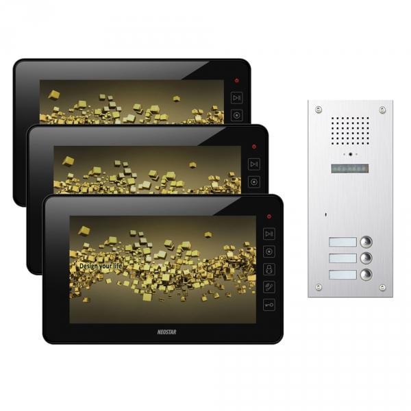video t rsprechanlage neostar f r 3 familienhaus mit 7 monitor mit versteckter. Black Bedroom Furniture Sets. Home Design Ideas