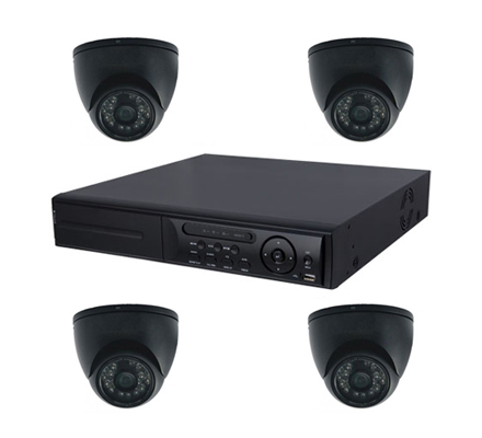 Videoüberwachung Set 4xFarb IR Dome Überwachungskamera 600TVL,20m Nachtsicht, 4 Kanal H.264 DVR, 250GB-IS-KSL01