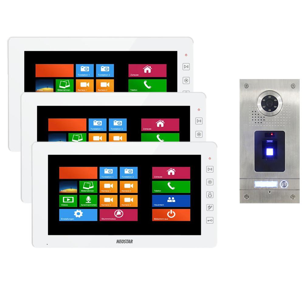 neostar video sprechanlage f r 1 familienhaus mit 10 tft lcd und fingerprint bmv 3wtf210t. Black Bedroom Furniture Sets. Home Design Ideas