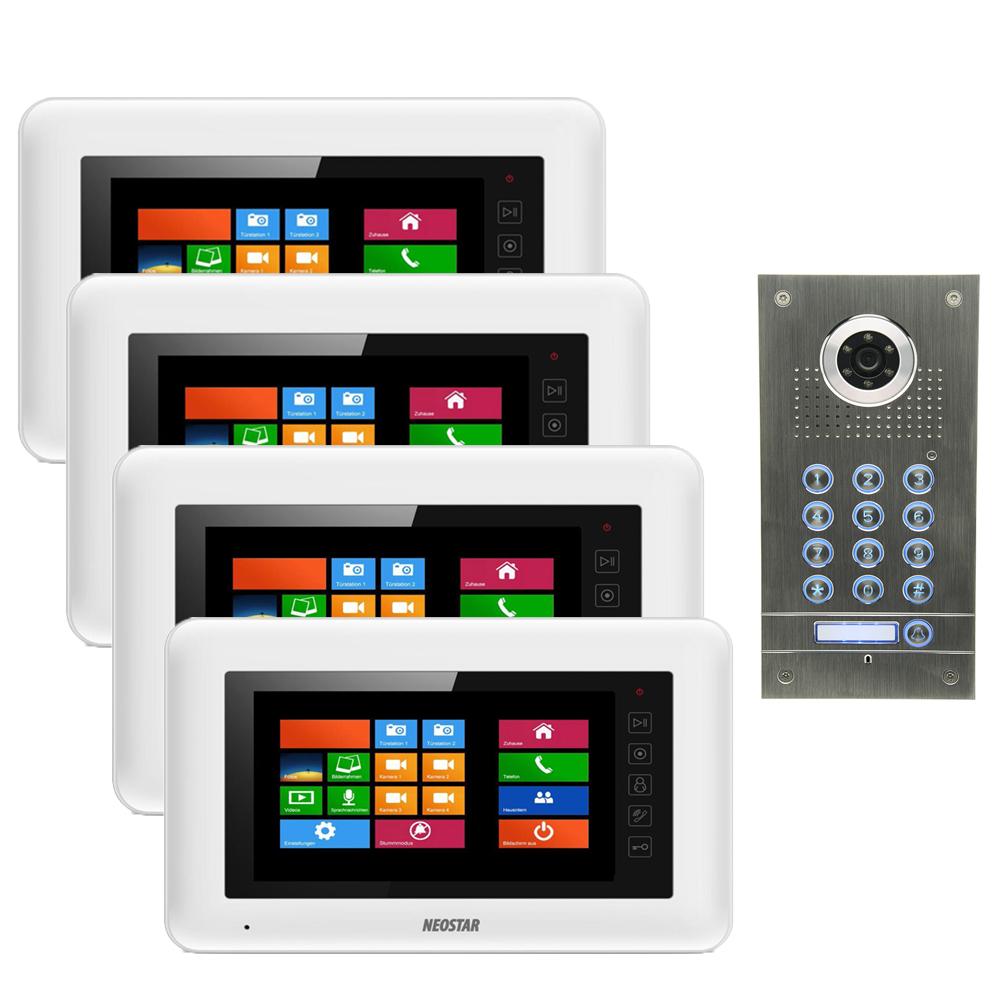 neostar video sprechanlage f r 1 familienhaus mit 4x7 tft lcd mit code funktion bmv 4wtc27. Black Bedroom Furniture Sets. Home Design Ideas
