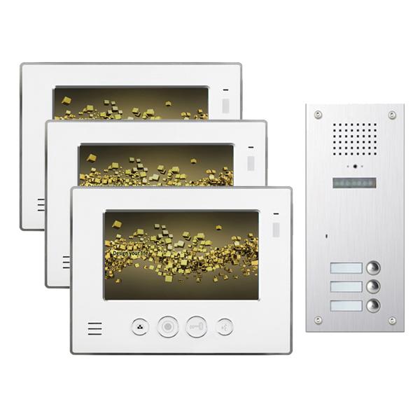 video haussprechanlage neostar f r 3 familienhaus mit 7 monitor mit versteckter. Black Bedroom Furniture Sets. Home Design Ideas