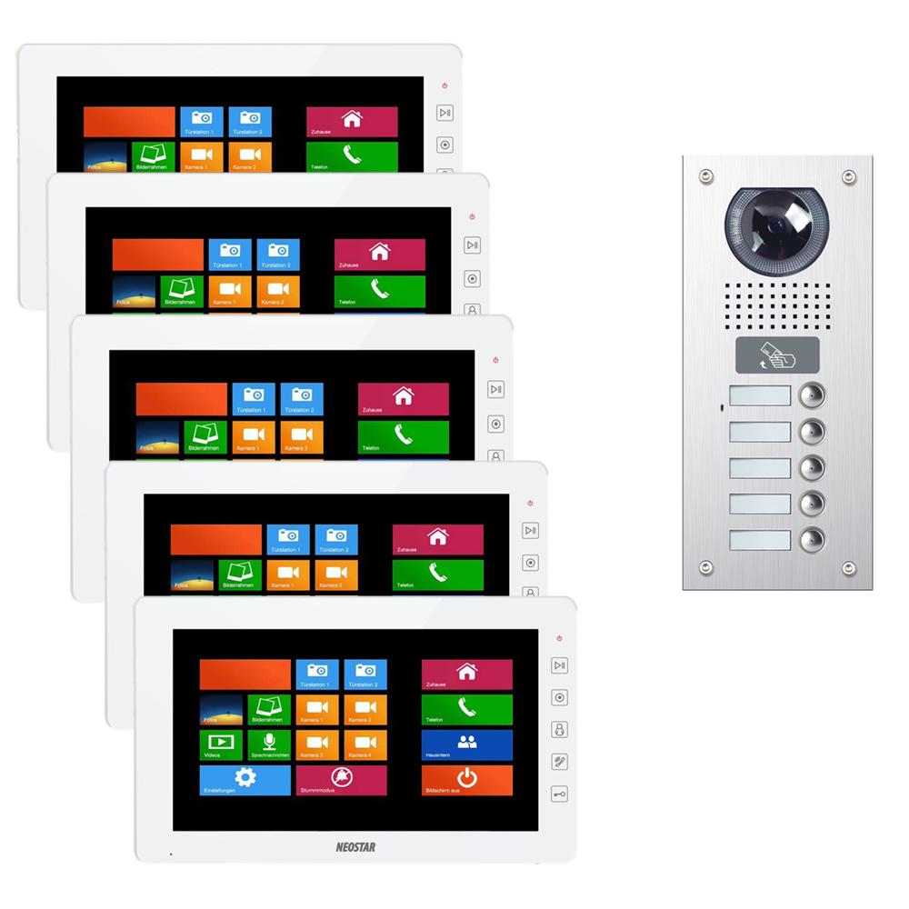Video Sprechanlage NEOSTAR für 5-Familienhaus mit 10\