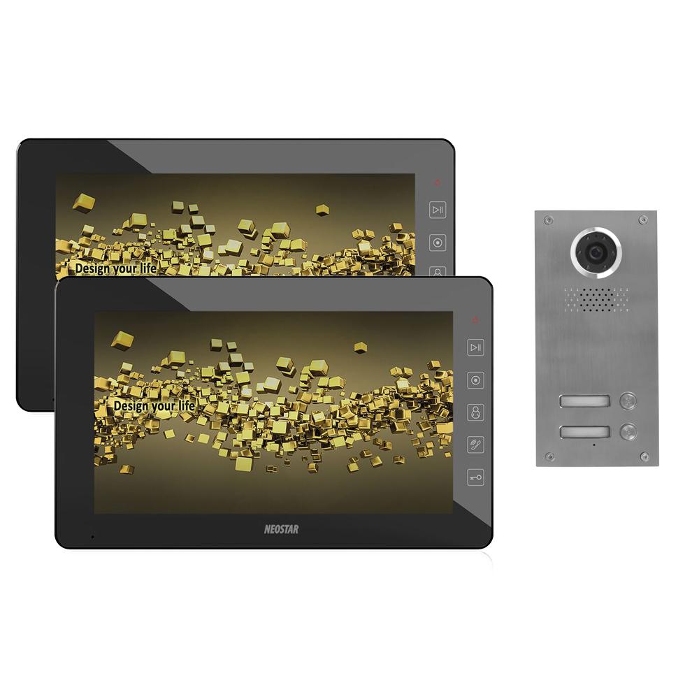 videosprechanlage mit unterputz t rstation und 10 tft lcd monitor f r 2 familienhaus bmv e210at. Black Bedroom Furniture Sets. Home Design Ideas