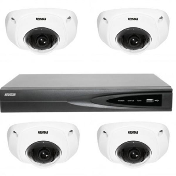 NEOSTAR Netzwerk-IP Videoüberwachung Set für Innenbereich 4xDome Überwachungskamera, 4 Kanal NVR mit PoE -IS-IPKS12 Netzwerk-IP Videoüberwachung Set für Innenbereich 4xDome Überwachungskamera, 4 Kanal NVR mit PoE -IS-IPKS12