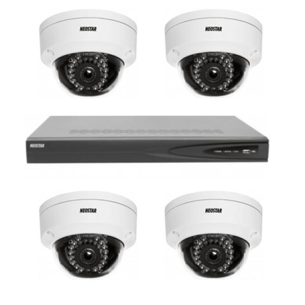 NEOSTAR Netzwerk-IP Videoüberwachung Set für Innenbereich 4xIR Netzwerk-Kamera, 4 Kanal IP Netzwerk Rekorder mit PoE -IS-IPKS15 Netzwerk-IP Videoüberwachung Set für Innenbereich 4xIR Netzwerk-Kamera, 4 Kanal IP Netzwerk Rekorder mit PoE -IS-IPKS15
