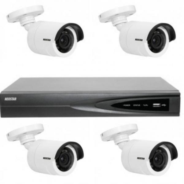 NEOSTAR Netzwerk-IP Videoüberwachung Set für Außenbereich 4xIR Netzwerkkamera, 4 Kanal IP NVR mit PoE -IS-IPKS17 Netzwerk-IP Videoüberwachung Set für Außenbereich 4xIR Netzwerkkamera, 4 Kanal IP NVR mit PoE -IS-IPKS17