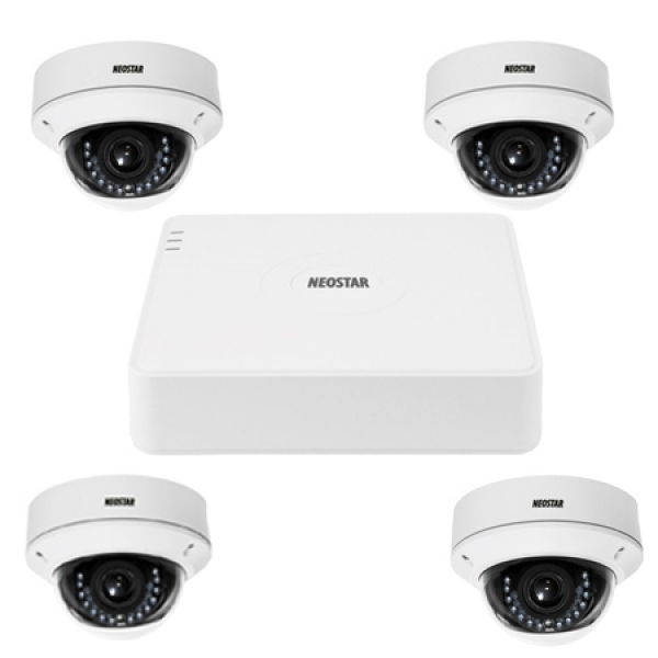 NEOSTAR Video Überwachungssystem mit 4xIR Dome-Überwachungskamera 600TVL Video Überwachungssystem mit 4xIR Dome-Überwachungskamera 600TVL