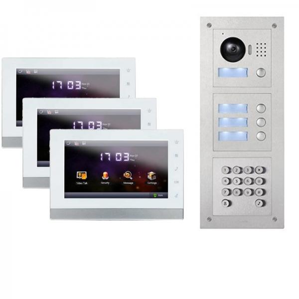 IhrSchutz24 2-Draht IP Gegensprechanlage für 3-Familienhaus mit Tastatur-Funktion 2-Draht IP Gegensprechanlage für 3-Familienhaus mit Tastatur-Funktion