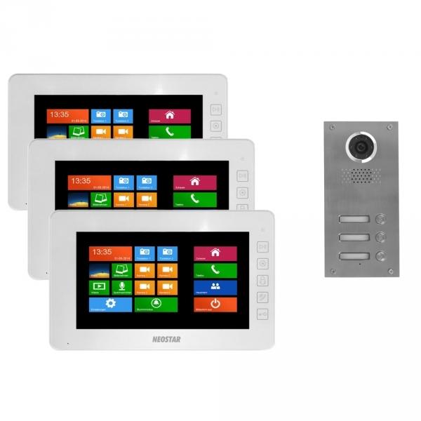 video t rsprechanlage f r 3 familienhaus mit 7 zoll mit touchscreen bildschirm und windows. Black Bedroom Furniture Sets. Home Design Ideas