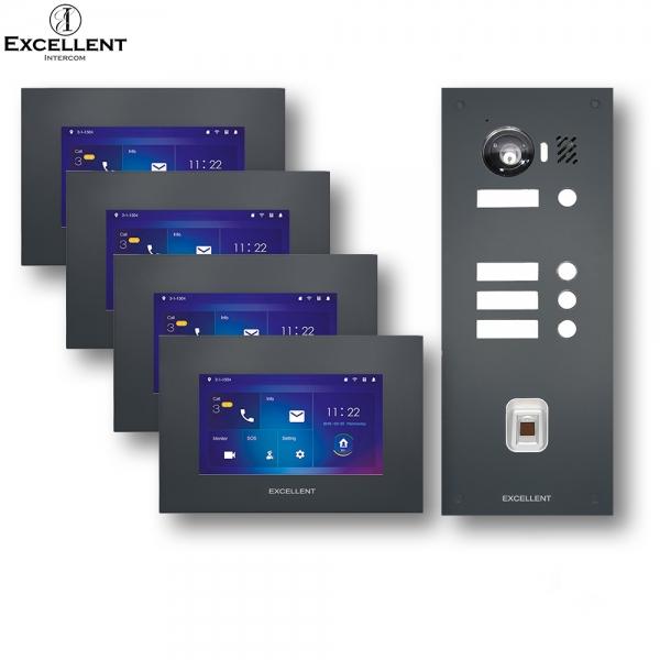 Excellent-Intercom Excellent 4 Familien IP Video Gegensprechanlage mit HD Kamera 150° mit Fingerprint Excellent 4 Familien IP Video Gegensprechanlage mit HD Kamera 150° mit Fingerprint