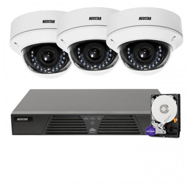 NEOSTAR Netzwerk-IP Videoüberwachung Set für Außenbereich 3xIP Dome Netzwerkkamera, 2,8-12mm, 4 Kanal NVR mit PoE -IS-IPKS34 Netzwerk-IP Videoüberwachung Set für Außenbereich 3xIP Dome Netzwerkkamera, 2,8-12mm, 4 Kanal NVR mit PoE -IS-IPKS34