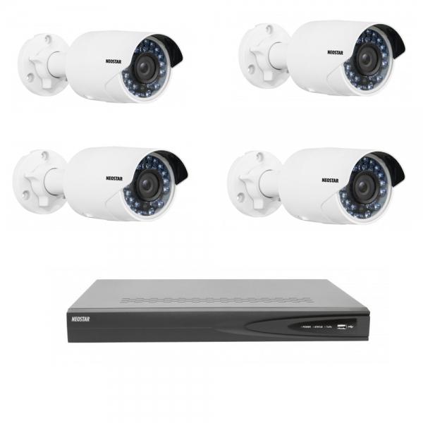NEOSTAR Netzwerk-IP Videoüberwachung Set 4x2.0 Megapixel IR Netzwerkkamera, 4 Kanal IP NVR mit PoE Netzwerk-IP Videoüberwachung Set 4x2.0 Megapixel IR Netzwerkkamera, 4 Kanal IP NVR mit PoE