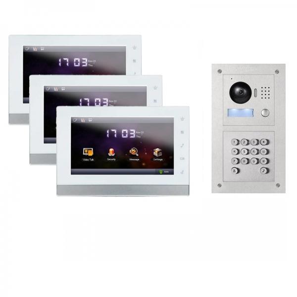 ip video t rsprechanlage mit 3x7 lcd und unterputz au enstation mit code funktion 3ipset11c. Black Bedroom Furniture Sets. Home Design Ideas