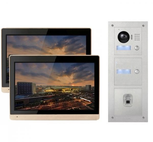 """IhrSchutz24 IP Türklingel mit 2x10"""" LCD und Unterputz-Außenstation mit Fingerprint IP Türklingel mit 2x10"""" LCD und Unterputz-Außenstation mit Fingerprint"""