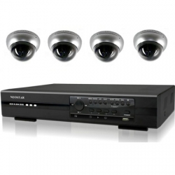 Video�berwachungssystem 4x Dome Kamera mit 600TVL, H.264 DVR Rekorder, 250GB - IS-KS09