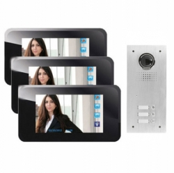 Video Gegensprechanlage mit Touchscreen Monitore f�r 3-Familienhaus, 4-Draht Technik - BMV-WT03